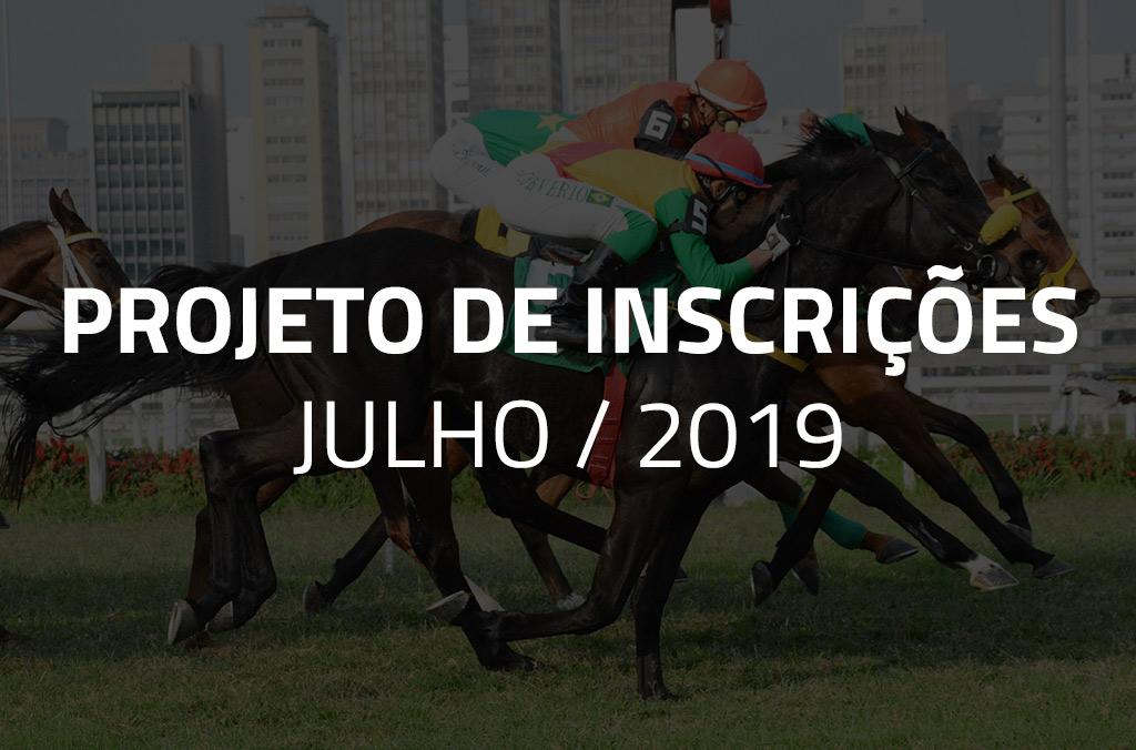 Projeto de Inscrições do mês de julho de 2019