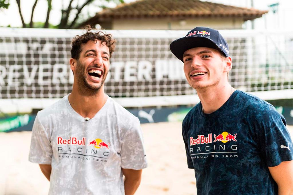Max Verstappen e Daniel Ricciardo jogam partida de futevôlei na Beach Arena, no Jockey Club de São Paulo